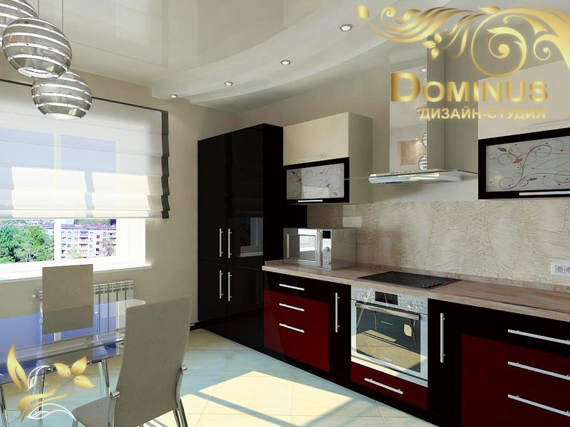 Дизайн красной, черной, кремовой кухни