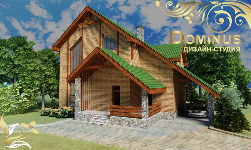 Коттедж в посёлке Кудряши. Главный фасад
