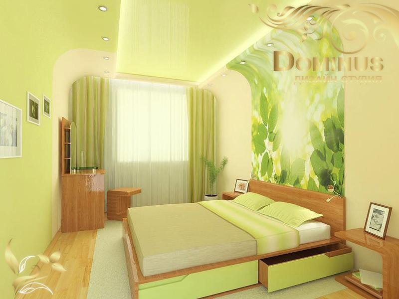 Зеленая спальня, салатовая спальня